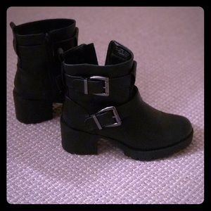 Buckle Ankle Black Boots